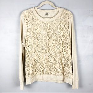 J. Crew Lace Front Sweatshirt Crew Neck Cream